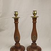 Circa WW2 Pair Of Air Ministry RAF Oak & Brass Candlesticks