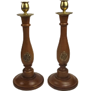Pair of Air Ministry R.A.F Oak & Brass Candlesticks cWW2