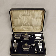 Cased Six Piece Birmingham Silver Cruet Set Circa 1911/12