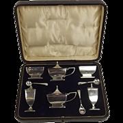 Boxed Six Piece Birmingham Silver Cruet Set c1911/12