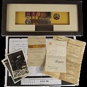 WW2 Framed Military Medal Set Awarded Pte Earl 5500573 Hampshire Regiment