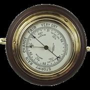 Circa 1920's Bulkhead Ships Brass Barometer By John Barker & Co