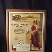1924 Framed Confectioners & Bakers Poster Certificate