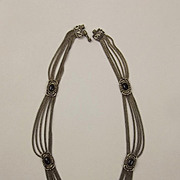Victorian Silver & Onyx Necklace