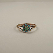 9ct Yellow Gold Turquoise Flower Head Ring UK Size P US 7 ½