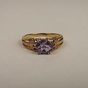 9ct Yellow Gold Amethyst Ring UK Size N+ US 7