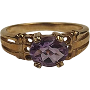 9ct Yellow Gold Amethyst Ring UK Size N+ US 7