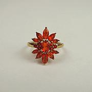 9ct Yellow Gold Orange Glass Flower Head Ring UK Size P+ US 7 ¾