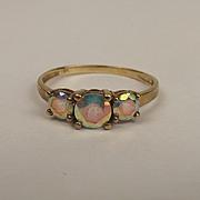 9ct Yellow Gold Rainbow Quartz Three Stone Ring UK Size P+ US 7 ¾