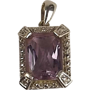 9ct White Gold Amethyst & Diamond Pendant