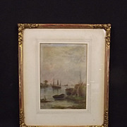 Fred Miller Framed Watercolour Of A Coastal Scene