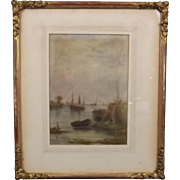 Fred Miller Framed Watercolour Of A Coastal Scene