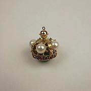 9ct Yellow Gold Multi-Stone Crown Pendant