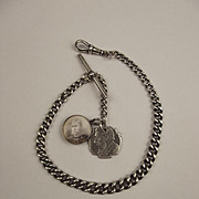 1930 Silver Albert Watch Chain With Boer War Fobs
