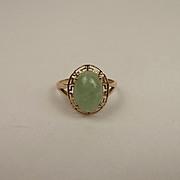 9Ct Yellow Gold Jade Ring UK Size X US 11 ½