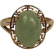 9Ct Yellow Gold Jade Ring UK Size X US 11 ½