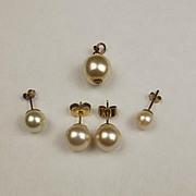 Pair Of 18ct Gold Pearl Earrings + 9ct Pearl Pendant & Two 9ct Pearl Earrings