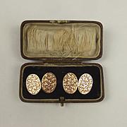 Pair Of 9ct Rose Gold Cufflinks In Box c1916