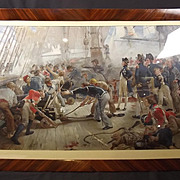 Circa 1900 Chromolithographic Print Of The Hero Of Trafalgar By W. H. Overend