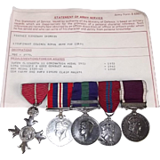 Order Of the British Empire Medal Set Of Five Of Lt. Col T R Shimmin RAPC