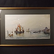 Circa 1900 Watercolour Of A Venice Scene By Edward Parrini