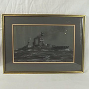 Framed Watercolour Of HMS Barham By Oscar Parkes