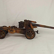 Circa 1936-39 Lineol Tin Plate Model No. 1240 Long Range Gun With Travelling Bogie