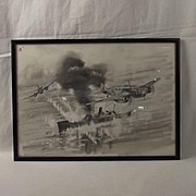 Pencil & Paint Drawing Of WW2 Bristol Beaufort Torpedo Bombers