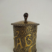 French WW1 Trench Art Shell Case Decorated Tobacco Jar