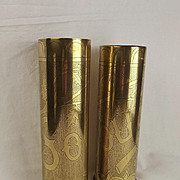 Pair Of WW1 Trench Art Decorated Shell Cases - Somme