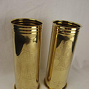 Pair Of WW1 Trench Art Decorated Shell Cases – Notts & Derby