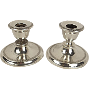 Chester 1908 Pair Of Squat Silver Candlesticks