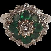 18ct White Gold Diamond & Emerald Flower Head Ring UK Size P+ US 7 ¾