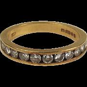 18ct Yellow Gold Diamond Band Ring UK Size K US 5 ¼