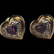 Pair Of 9ct Yellow Gold Amethyst & Diamond Stud Earrings