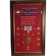 Framed Royal Regiment Of Artillery Badge Collection