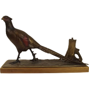 Cold Painted Spelter Pheasant Steel Striker Lighter Figure