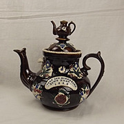 1888 Large Victorian Treacle-Glaze Barge-Ware Teapot
