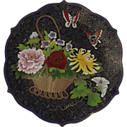 Large Chinese Cloisonne Floral & Butterfly Charger Plate