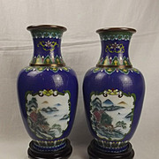 Pair Of Chinese Cloisonne Floral Vases On Wooden Stands