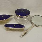 Four Piece Silver Plate & Enamel Admiralty Brush Set