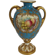 Royal Worcester Twin Handled Ewer Painted By William Hawkins