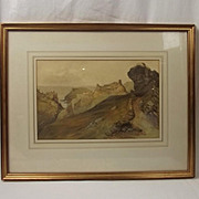 Framed Philip Mitchell Watercolour – View Of Tintagel c1840's