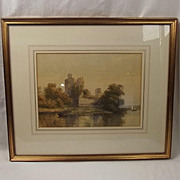 Framed Philip Mitchell Watercolour - Ruined Buildings On A River (The Tamar) c1855 - 1860