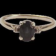 9ct White Gold Aquamarine & Diamond Ring UK Size O US 7 ¼