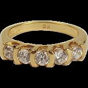9ct Yellow Gold Five Stone Cubic Zirconia Ring UK Size U US 10 ¼