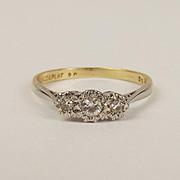 18ct Yellow Gold & Platinum Three Stone Diamond Ring UK Size Q+ US 8 ¼