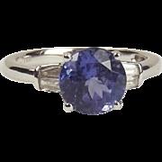 10ct White Gold Iolite & Diamond Ring UK Size N+ US 7
