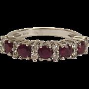 18ct White Gold Ruby & Diamond Ring UK Size P US 7 ½