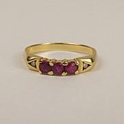 18ct Yellow Gold Ruby & Diamond Ring UK Size P US 7 ½